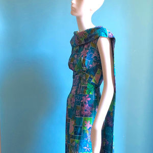 Vtg Lauhala Hawaai Long Mod Print Long Dress XXS